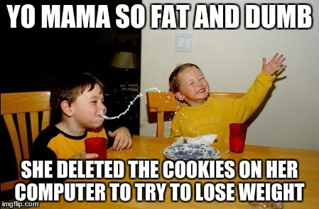 Yo Mamas So Fat Meme | YO MAMA SO FAT AND DUMB SHE DELETED THE COOKIES ON HER COMPUTER TO TRY TO LOSE WEIGHT | image tagged in memes,yo mamas so fat | made w/ Imgflip meme maker