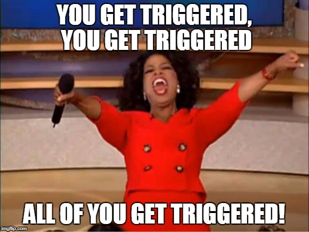 Oprah You Get A Meme | YOU GET TRIGGERED, YOU GET TRIGGERED ALL OF YOU GET TRIGGERED! | image tagged in memes,oprah you get a | made w/ Imgflip meme maker