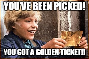 The Golden Ticket | YOU'VE BEEN PICKED! YOU GOT A GOLDEN TICKET!! | image tagged in the golden ticket | made w/ Imgflip meme maker
