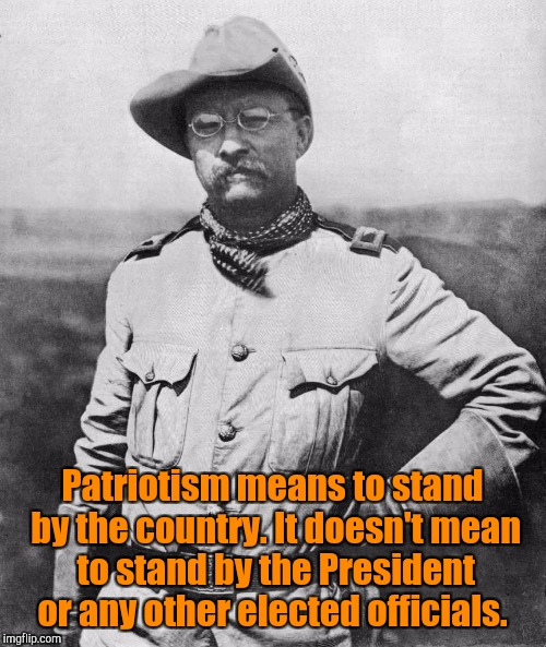 Military Week. Nov. 5th-11th. A Chad -, Dash Hopes,  JBmemegeek and Spurs Fan From Around event.  |  Patriotism means to stand by the country. It doesn't mean to stand by the President or any other elected officials. | image tagged in military week,patriotism,teddy roosevelt | made w/ Imgflip meme maker