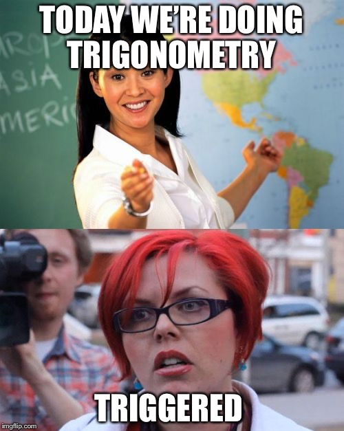 Anything triggers them even the word trigger | TODAY WE'RE DOING TRIGONOMETRY TRIGGERED | image tagged in sjw,triggered liberal,memes,funny memes | made w/ Imgflip meme maker