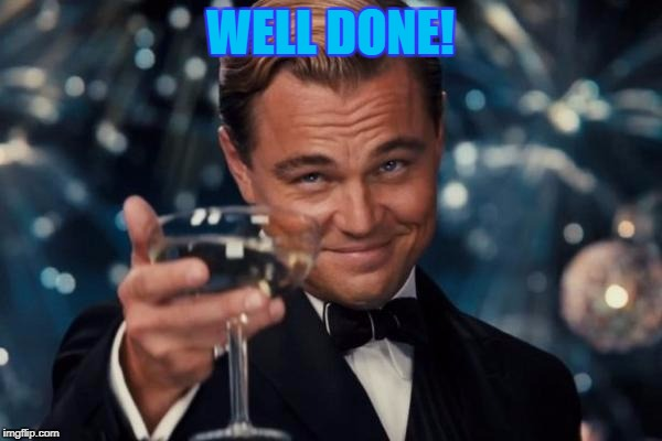 Leonardo Dicaprio Cheers Meme | WELL DONE! | image tagged in memes,leonardo dicaprio cheers | made w/ Imgflip meme maker