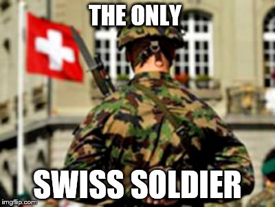 THE ONLY SWISS SOLDIER | image tagged in the swiss elite | made w/ Imgflip meme maker