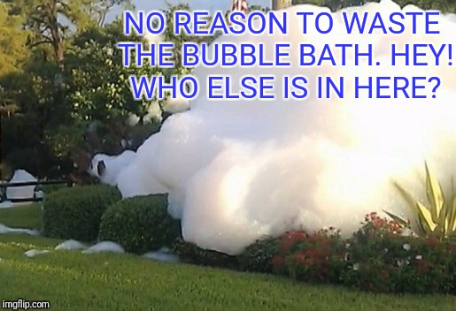 NO REASON TO WASTE THE BUBBLE BATH. HEY! WHO ELSE IS IN HERE? | made w/ Imgflip meme maker