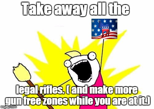 X All The Y Meme | Take away all the legal rifles. ( and make more gun free zones while you are at it.) | image tagged in memes,x all the y | made w/ Imgflip meme maker