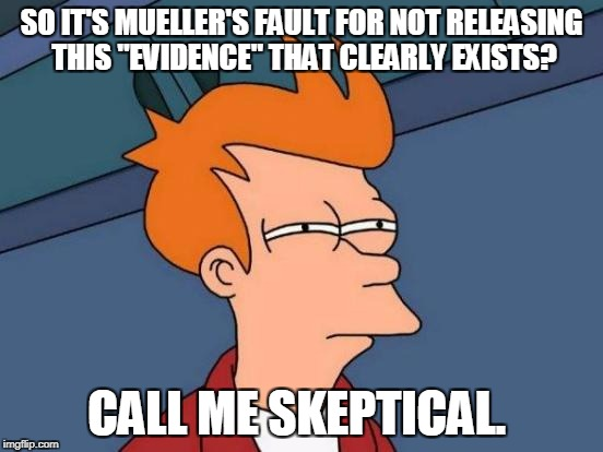 "Futurama Fry Meme | SO IT'S MUELLER'S FAULT FOR NOT RELEASING THIS ""EVIDENCE"" THAT CLEARLY EXISTS? CALL ME SKEPTICAL. 