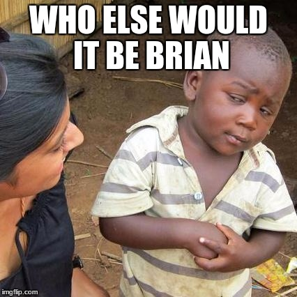 Third World Skeptical Kid Meme | WHO ELSE WOULD IT BE BRIAN | image tagged in memes,third world skeptical kid | made w/ Imgflip meme maker