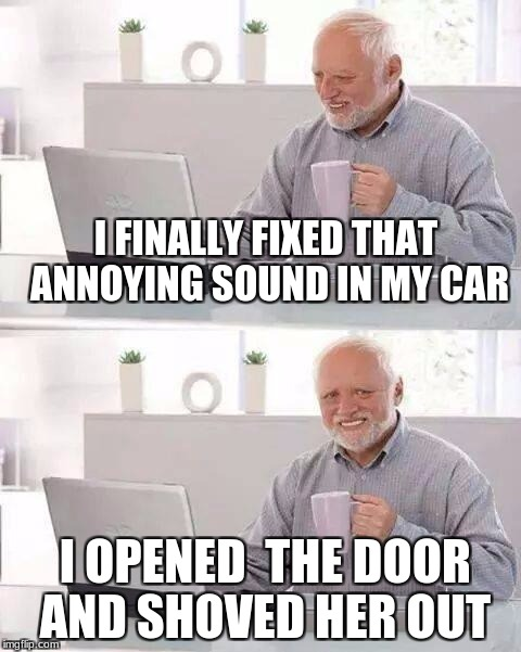 Hide the Pain Harold Meme | I FINALLY FIXED THAT ANNOYING SOUND IN MY CAR I OPENED  THE DOOR AND SHOVED HER OUT | image tagged in memes,hide the pain harold | made w/ Imgflip meme maker