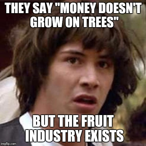 "Conspiracy Keanu Meme | THEY SAY ""MONEY DOESN'T GROW ON TREES"" BUT THE FRUIT INDUSTRY EXISTS 