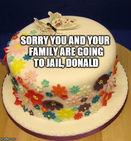 BIRTHDAY BUTTERFLY CAKE | SORRY YOU AND YOUR FAMILY ARE GOING TO JAIL, DONALD | image tagged in birthday butterfly cake | made w/ Imgflip meme maker