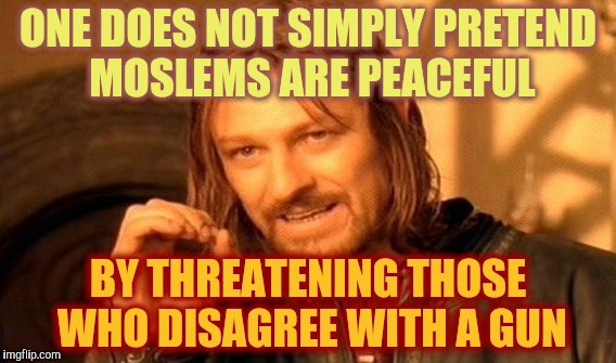 One Does Not Simply Meme | ONE DOES NOT SIMPLY PRETEND MOSLEMS ARE PEACEFUL BY THREATENING THOSE WHO DISAGREE WITH A GUN | image tagged in memes,one does not simply | made w/ Imgflip meme maker