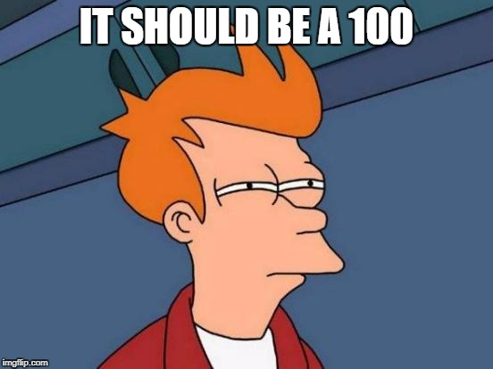 Futurama Fry Meme | IT SHOULD BE A 100 | image tagged in memes,futurama fry | made w/ Imgflip meme maker