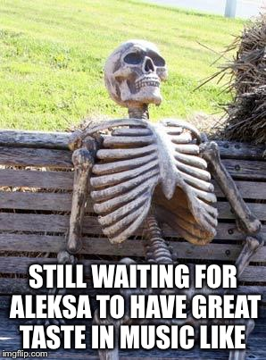 Waiting Skeleton Meme | STILL WAITING FOR ALEKSA TO HAVE GREAT TASTE IN MUSIC LIKE | image tagged in memes,waiting skeleton | made w/ Imgflip meme maker