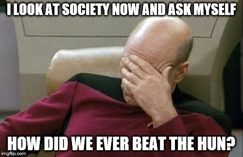 Captain Picard Facepalm Meme | I LOOK AT SOCIETY NOW AND ASK MYSELF HOW DID WE EVER BEAT THE HUN? | image tagged in memes,captain picard facepalm | made w/ Imgflip meme maker