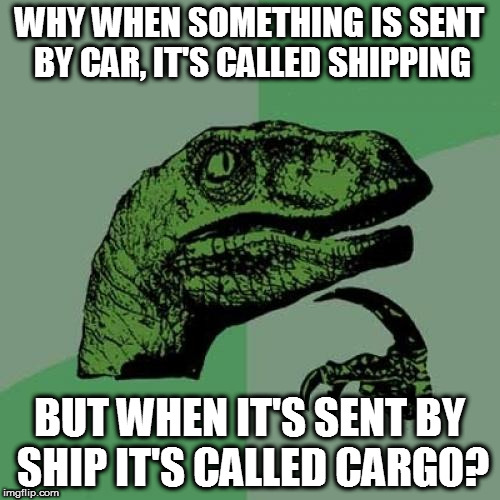 Philosoraptor Meme | WHY WHEN SOMETHING IS SENT BY CAR, IT'S CALLED SHIPPING BUT WHEN IT'S SENT BY SHIP IT'S CALLED CARGO? | image tagged in memes,philosoraptor | made w/ Imgflip meme maker