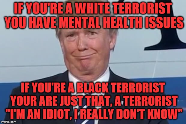 "donald trump | IF YOU'RE A WHITE TERRORIST YOU HAVE MENTAL HEALTH ISSUES IF YOU'RE A BLACK TERRORIST YOUR ARE JUST THAT, A TERRORIST ""I'M AN IDIOT, I REALL 