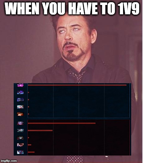 Face You Make Robert Downey Jr Meme | WHEN YOU HAVE TO 1V9 | image tagged in memes,face you make robert downey jr,funny memes,league of legends | made w/ Imgflip meme maker