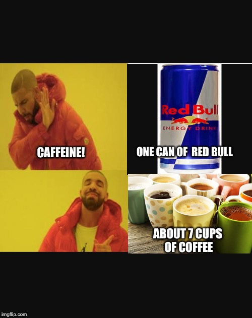 People be like... | ONE CAN OF  RED BULL ABOUT 7 CUPS OF COFFEE CAFFEINE! | image tagged in memes,red bull,coffee addict,caffeine | made w/ Imgflip meme maker