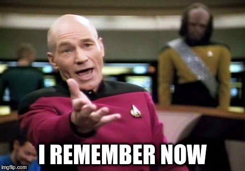 Picard Wtf Meme | I REMEMBER NOW | image tagged in memes,picard wtf | made w/ Imgflip meme maker