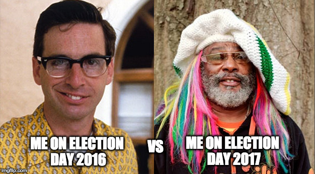 ME ON ELECTION DAY 2017 ME ON ELECTION DAY 2016 VS | image tagged in beforeafter | made w/ Imgflip meme maker