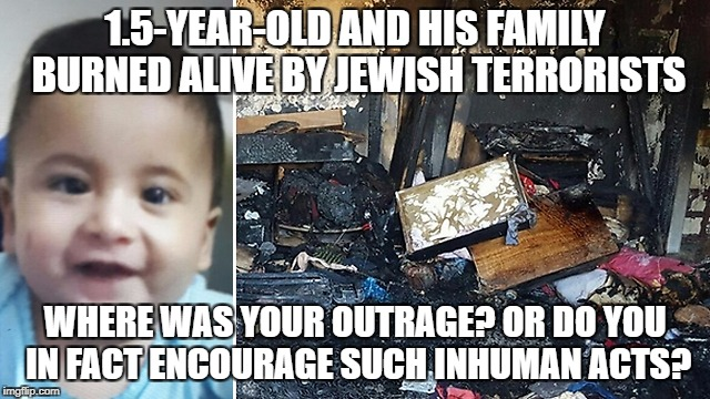 1.5-YEAR-OLD AND HIS FAMILY BURNED ALIVE BY JEWISH TERRORISTS WHERE WAS YOUR OUTRAGE? OR DO YOU IN FACT ENCOURAGE SUCH INHUMAN ACTS? | image tagged in infant burned alive | made w/ Imgflip meme maker