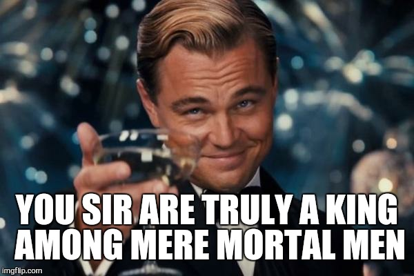Leonardo Dicaprio Cheers Meme | YOU SIR ARE TRULY A KING AMONG MERE MORTAL MEN | image tagged in memes,leonardo dicaprio cheers | made w/ Imgflip meme maker