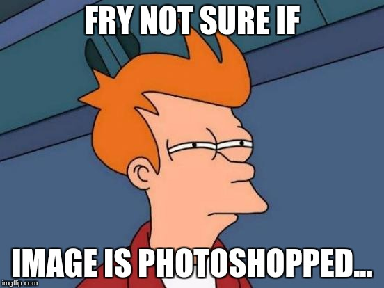 Futurama Fry Meme | FRY NOT SURE IF IMAGE IS PHOTOSHOPPED... | image tagged in memes,futurama fry | made w/ Imgflip meme maker