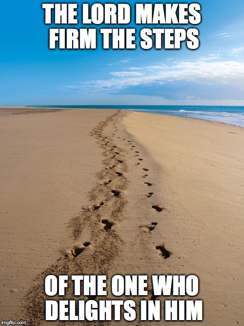 THE LORD MAKES FIRM THE STEPS OF THE ONE WHO DELIGHTS IN HIM | image tagged in footsteps in the sand | made w/ Imgflip meme maker