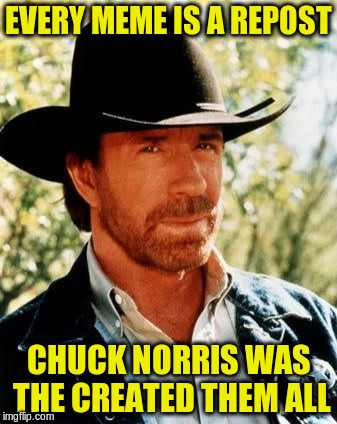 EVERY MEME IS A REPOST CHUCK NORRIS WAS THE CREATED THEM ALL | made w/ Imgflip meme maker