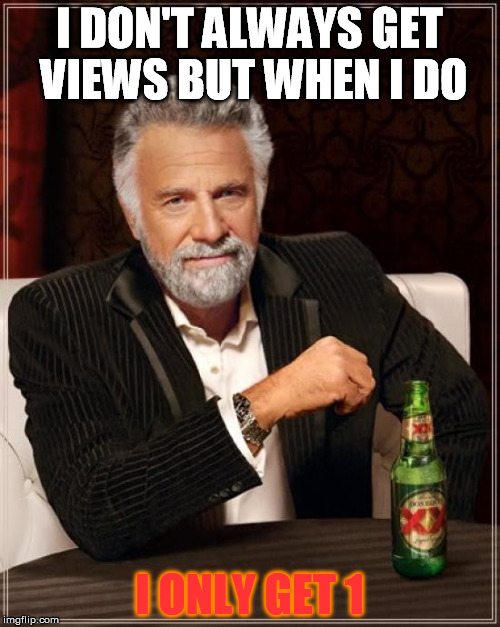 The Most Interesting Man In The World Meme | I DON'T ALWAYS GET VIEWS BUT WHEN I DO I ONLY GET 1 | image tagged in memes,the most interesting man in the world | made w/ Imgflip meme maker