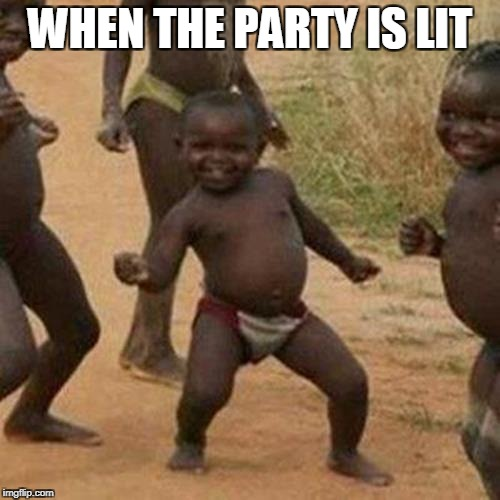 Third World Success Kid Meme | WHEN THE PARTY IS LIT | image tagged in memes,third world success kid | made w/ Imgflip meme maker