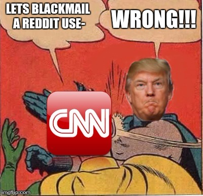 CNN: corrupt news network | LETS BLACKMAIL A REDDIT USE- WRONG!!! | image tagged in trump slaps cnn | made w/ Imgflip meme maker