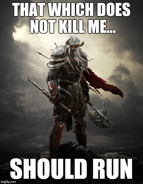 Barbarian | THAT WHICH DOES NOT KILL ME... SHOULD RUN | image tagged in barbarian | made w/ Imgflip meme maker
