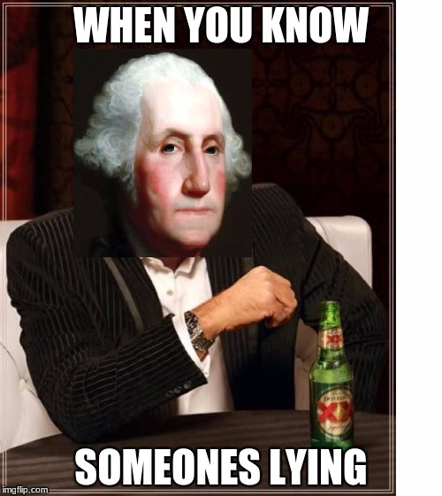 WHEN YOU KNOW SOMEONES LYING | image tagged in george washington interesting man | made w/ Imgflip meme maker