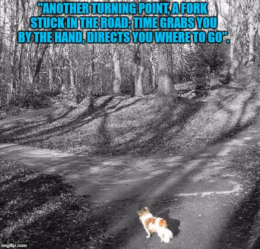 "Turning Point, featuring the wonderful late, great Holly Dog. | ""ANOTHER TURNING POINT, A FORK STUCK IN THE ROAD; TIME GRABS YOU BY THE HAND, DIRECTS YOU WHERE TO GO"". 