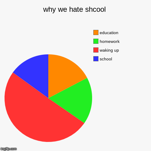 why we hate shcool | school, waking up, homework, education | image tagged in funny,pie charts | made w/ Imgflip pie chart maker