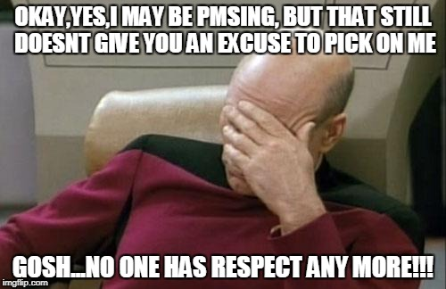 Captain Picard Facepalm Meme | OKAY,YES,I MAY BE PMSING, BUT THAT STILL DOESNT GIVE YOU AN EXCUSE TO PICK ON ME GOSH...NO ONE HAS RESPECT ANY MORE!!! | image tagged in memes,captain picard facepalm | made w/ Imgflip meme maker