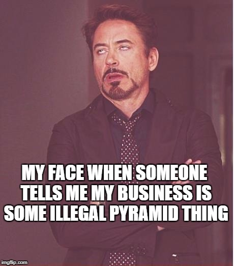 Face You Make Robert Downey Jr Meme | MY FACE WHEN SOMEONE TELLS ME MY BUSINESS IS SOME ILLEGAL PYRAMID THING | image tagged in memes,face you make robert downey jr | made w/ Imgflip meme maker