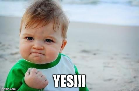 Fist pump baby | YES!!! | image tagged in fist pump baby | made w/ Imgflip meme maker