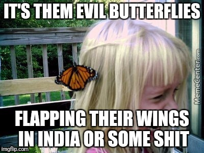 IT'S THEM EVIL BUTTERFLIES FLAPPING THEIR WINGS IN INDIA OR SOME SHIT | made w/ Imgflip meme maker