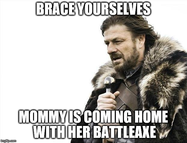 Brace Yourselves Mommy is Coming | BRACE YOURSELVES MOMMY IS COMING HOME WITH HER BATTLEAXE | image tagged in memes,brace yourselves x is coming,idc,the lord of the rings | made w/ Imgflip meme maker