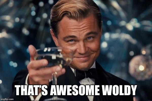 Leonardo Dicaprio Cheers Meme | THAT'S AWESOME WOLDY | image tagged in memes,leonardo dicaprio cheers | made w/ Imgflip meme maker