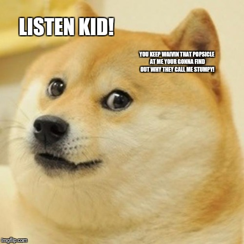 Doge Meme | LISTEN KID! YOU KEEP WAIVIN THAT POPSICLE AT ME YOUR GONNA FIND OUT WHY THEY CALL ME STUMPY! | image tagged in memes,doge | made w/ Imgflip meme maker