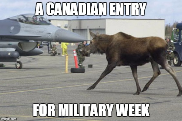 The Canadians are coming! | A CANADIAN ENTRY FOR MILITARY WEEK | image tagged in military week,moose | made w/ Imgflip meme maker
