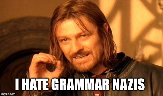 One Does Not Simply Meme | I HATE GRAMMAR NAZIS | image tagged in memes,one does not simply | made w/ Imgflip meme maker