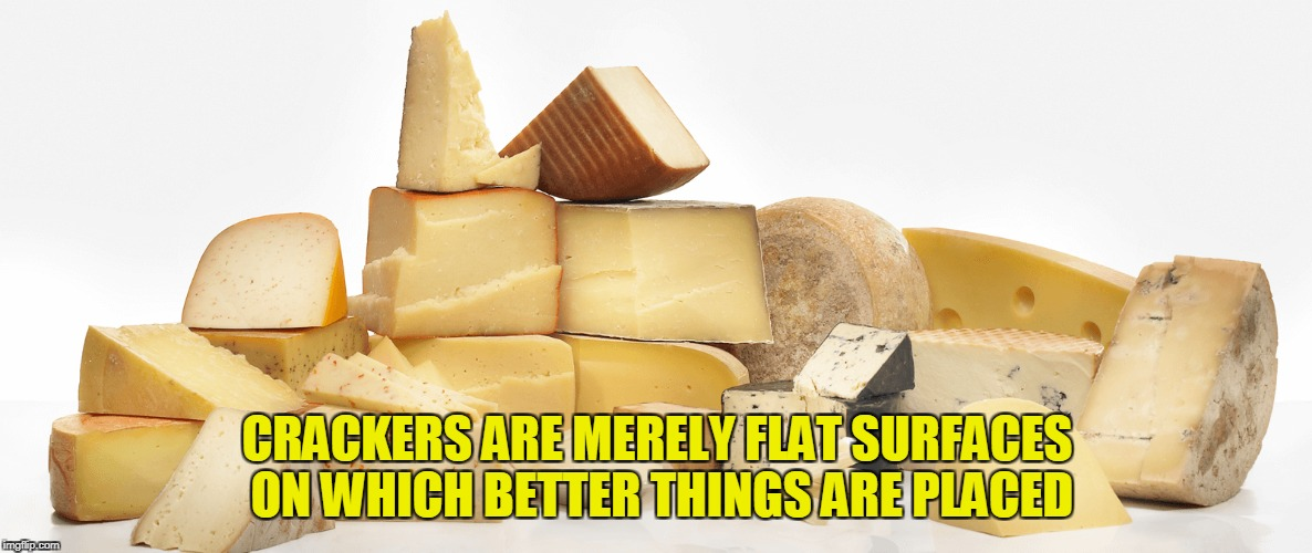 CRACKERS ARE MERELY FLAT SURFACES ON WHICH BETTER THINGS ARE PLACED | made w/ Imgflip meme maker