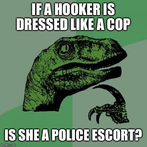 Philosoraptor Meme | IF A HOOKER IS DRESSED LIKE A COP IS SHE A POLICE ESCORT? | image tagged in memes,philosoraptor | made w/ Imgflip meme maker