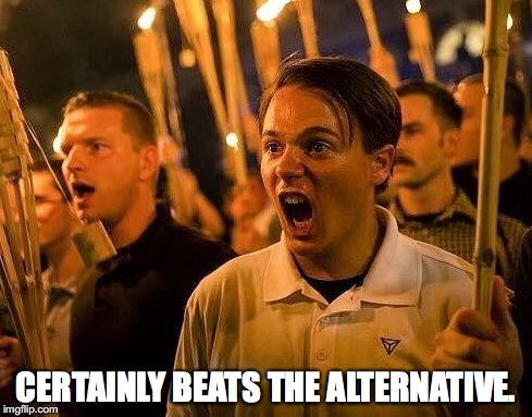 Triggered neo nazi | CERTAINLY BEATS THE ALTERNATIVE. | image tagged in triggered neo nazi | made w/ Imgflip meme maker
