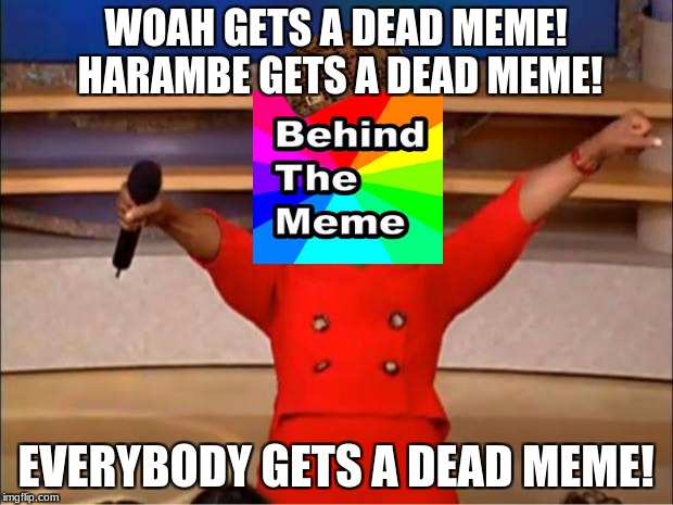 Oprah You Get A Meme | WOAH GETS A DEAD MEME! HARAMBE GETS A DEAD MEME! EVERYBODY GETS A DEAD MEME! | image tagged in memes,oprah you get a,scumbag | made w/ Imgflip meme maker