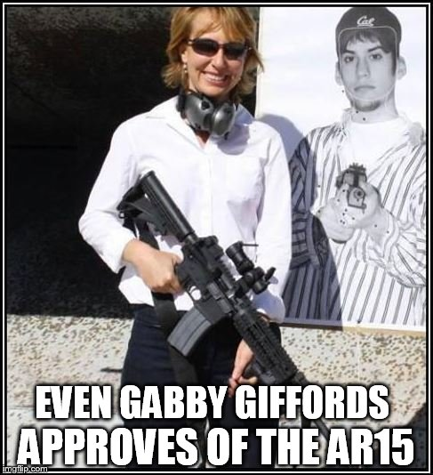 EVEN GABBY GIFFORDS APPROVES OF THE AR15 | image tagged in gabby hypocrite | made w/ Imgflip meme maker
